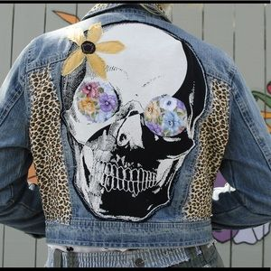 Highway Jeans Upcycled Denim Jean Jacket Ieopard